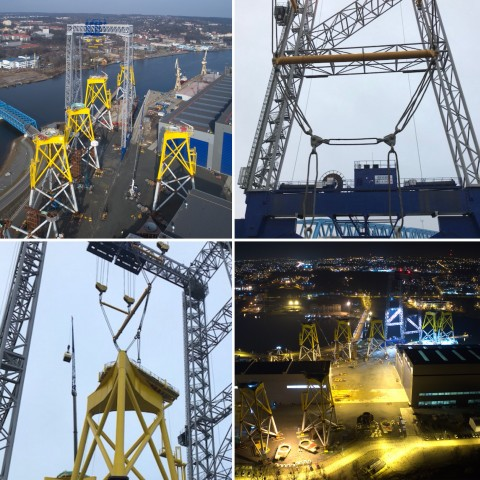 ST3 Lifts Jacket Foundations for Wind Farm with Modulift Beams
